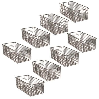 mDesign Metal Bathroom Storage Organizer Basket, 8 Pack - Bronze