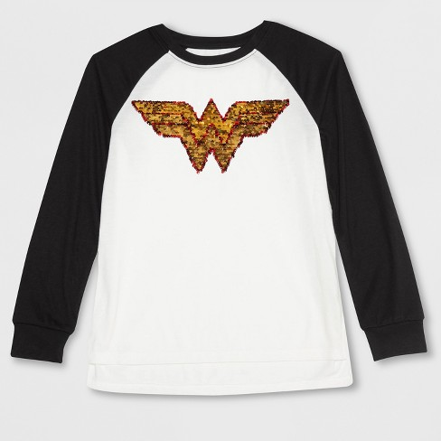 c1a5b1cb3843f Girls  DC Comics Wonder Woman Shield Flip Sequin Long Sleeve T-Shirt - Ivory