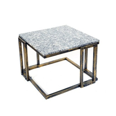 """14.5"""" Metal Rectangular Plant Stand with Granite Marble Top - Black/Gold - Ore International"""