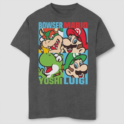 Boys' Super Mario Bros Character Collage T-Shirt - Gray