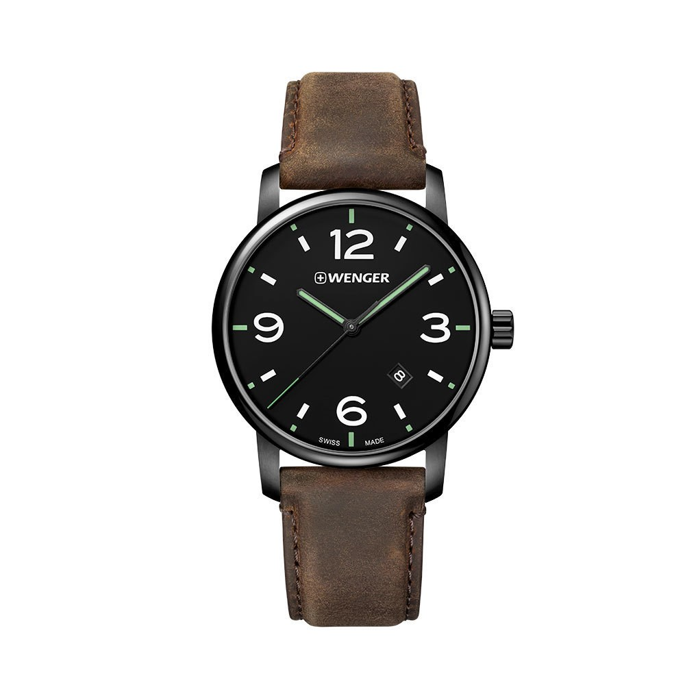 Image of Men's Wenger Urban Metropolitan - Swiss Made - Black PVD Case Black Dial Leather Strap watch - Brown, Size: Small, Black Brown
