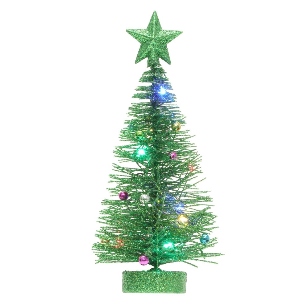 Image of Philips Christmas LED Green Glitter Wire Tree Battery Operated Novelty Sculpture Lights Multicolored
