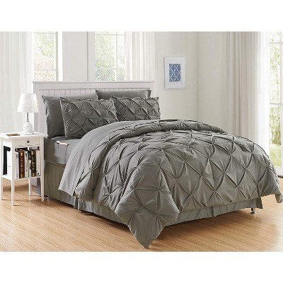 Elegant Comfort Luxury Softest, Coziest 8-PIECE Bed-in-a-Bag Pintuck Design Comforter Set - Silky Soft Complete Set Includes Bed Sheet Set with Double Sided Storage Pockets.