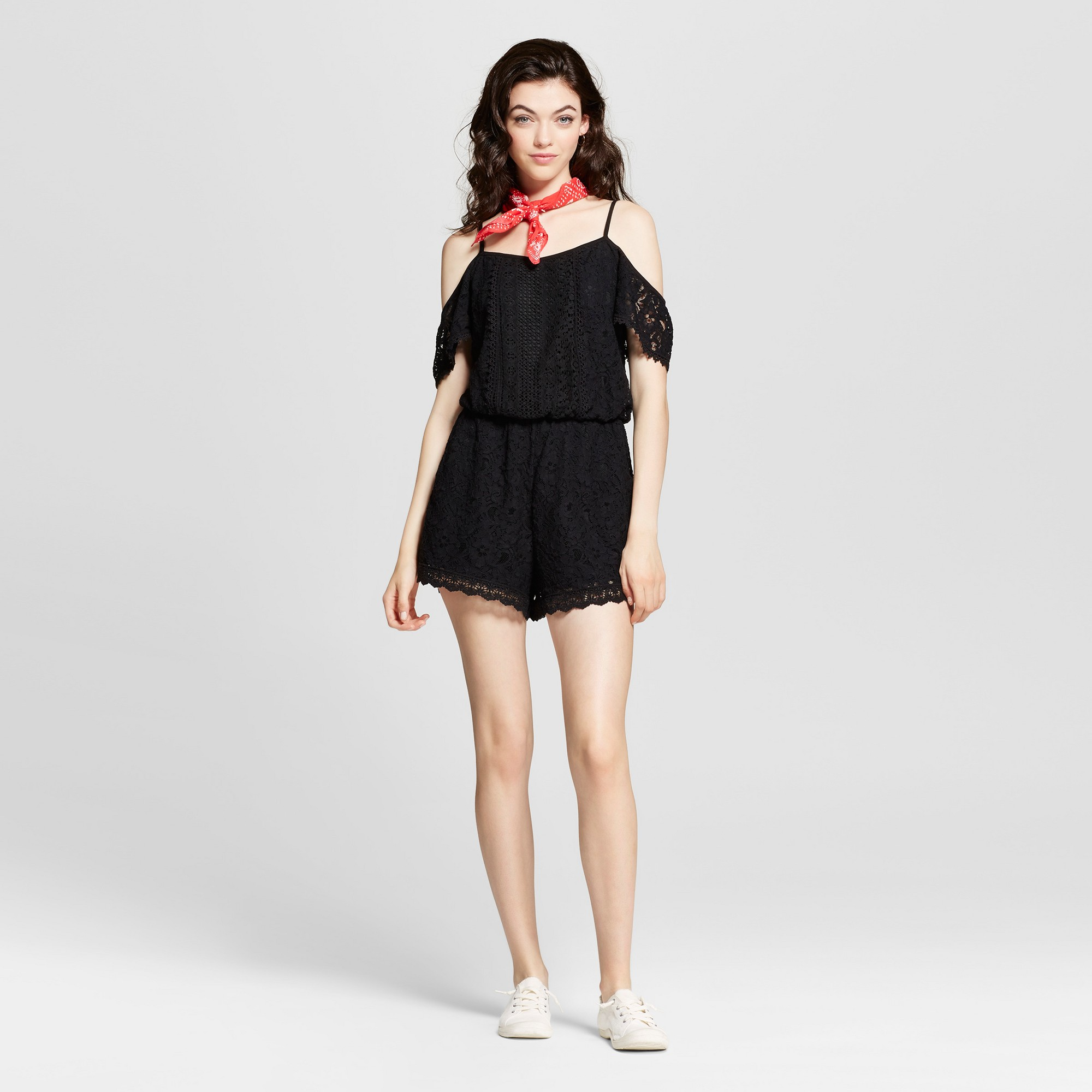 Women's Lace Cold Shoulder Romper - Xhilaration (Juniors') Black L