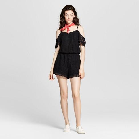 f84b3b3321ec Women s Lace Cold Shoulder Romper - Xhilaration™ (Juniors )   Target