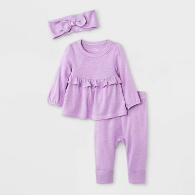 Baby Girls' 2pc Cozy Top & Bottom Set with Headband - Cat & Jack™ Purple 3-6M