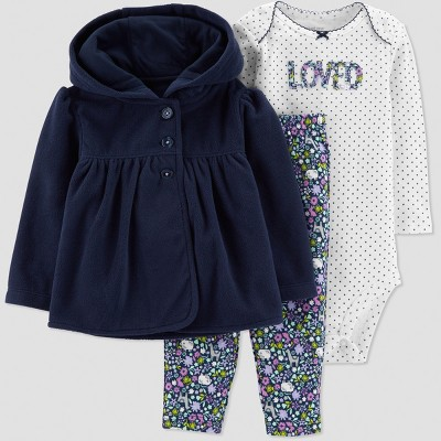 Baby Girls' 3pc Floral Cardigan Set - Just One You® made by carter's Navy Newborn