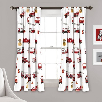 """52""""x63"""" Make A Wish Fire Truck Window Curtains Panels Red/White - Lush Décor"""
