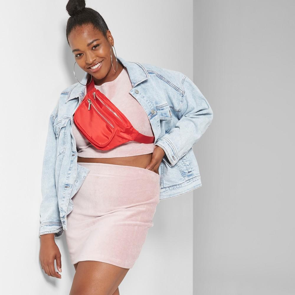Women's Plus Size Knit Corduroy Mini Skirt - Wild Fable Pink 4X