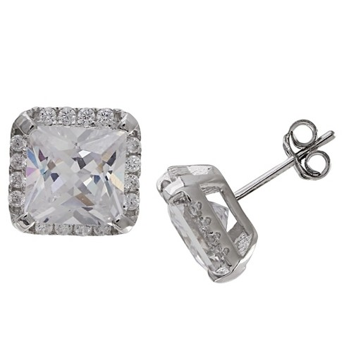 Women's Square Stud Earrings with Princess Cut Clear Cubic Zirconia in Sterling Silver - Clear/Gray (9mm) - image 1 of 1