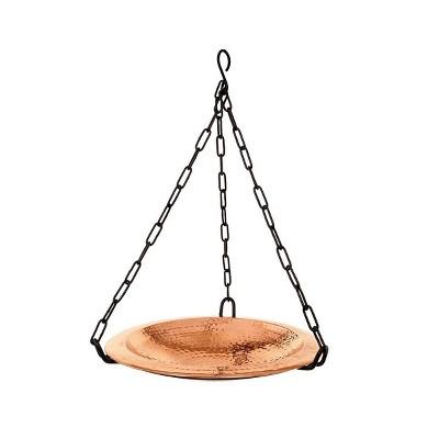"12.5"" Hammered Copper Hanging Birdbath Bowl Polished Copper Plated - Achla Designs"