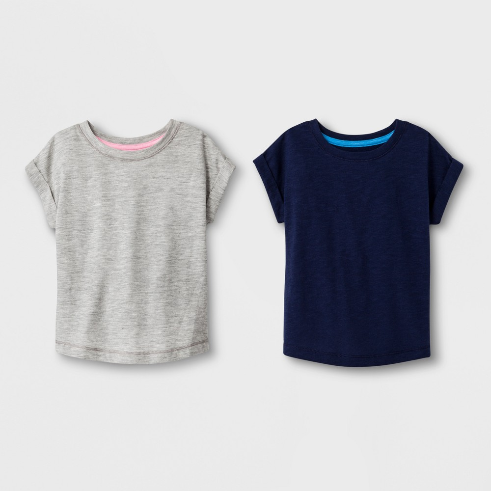 Toddler Girls' 2pk T-Shirts - Cat & Jack Navy and Gray 2T, Blue
