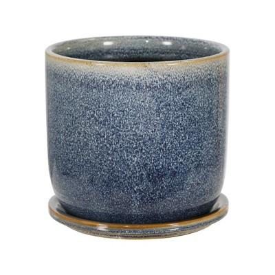 """6"""" Ceramic Planter with Saucer Aqua - Sagebrook Home"""