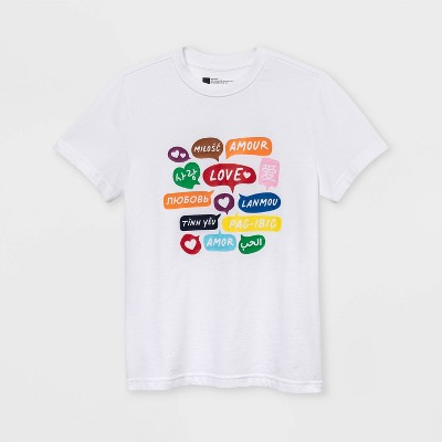 Pride Gender Inclusive Kids' Word Bubbles Short Sleeve Graphic T-Shirt - White