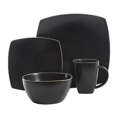 Gibson Elite 102261.16RM Soho Lounge 16 Piece Dinnerware Set for 4 Including Dinner Plates Dessert Plates and Mugs, Matte Black with White Rims