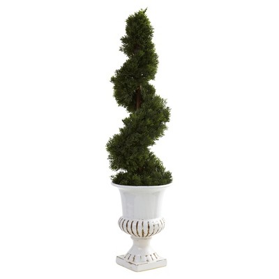 Artificial 2.6ft Cedar Spiral With Urn Indoor/Outdoor - Nearly Natural