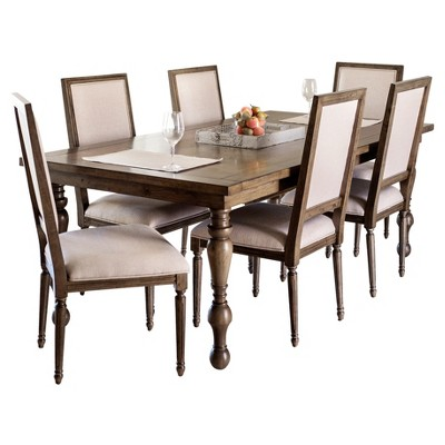 Bailey 7   Piece Dining Set   Weathered Oak   Abbyson