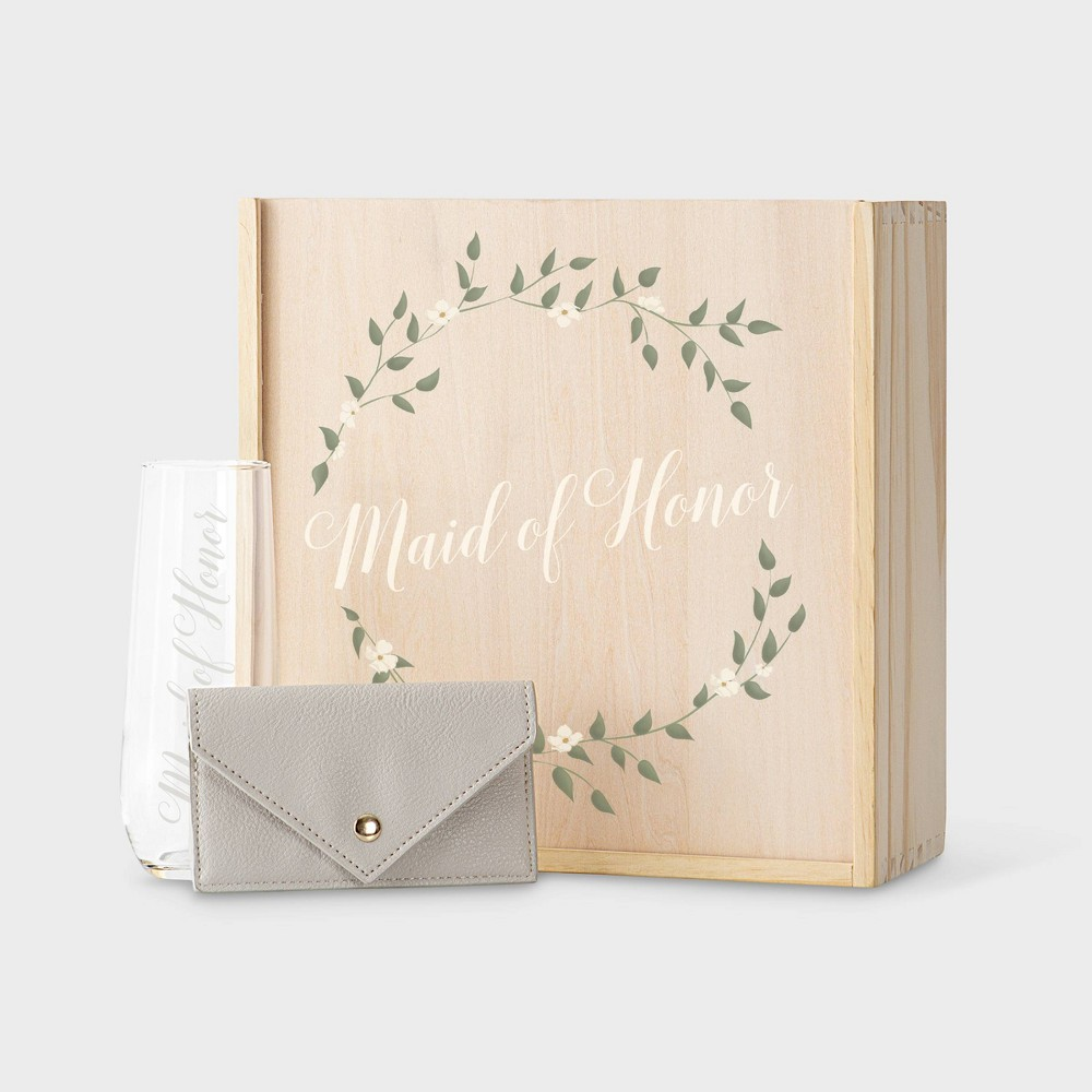 Floral Maid of Honor Gift Box Wood - Cathy's Concepts