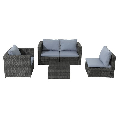 5pc Wicker Rattan Sofa Set with Gray Cushions - Accent Furniture