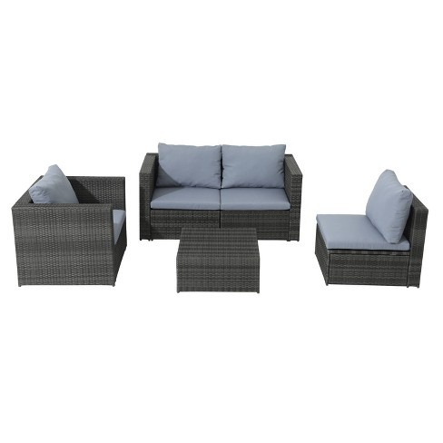 5pc Wicker Rattan Sofa Set with Gray Cushions - Accent Furniture - image 1 of 4