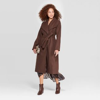 Women's Wool Wrap Coat - A New Day™ Brown XS