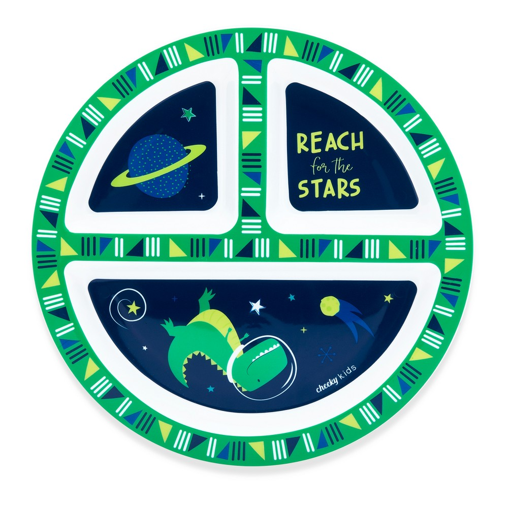 Image of Cheeky Plastic Divided Kids Plate 8.3 Space Dinosaur - Green