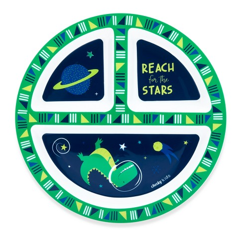 "Cheeky Plastic Divided Kids Plate 8.3"" Space Dinosaur - Green - image 1 of 1"