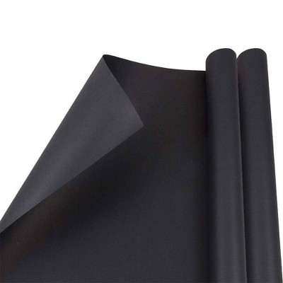 JAM PAPER Black Matte Gift Wrapping Paper Rolls - 2 packs of 25 Sq. Ft.