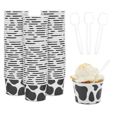 Blue Panda 100 Pack Cow Paper Ice Cream Cups with Spoons, Farm Birthday Party Supplies (8 oz)