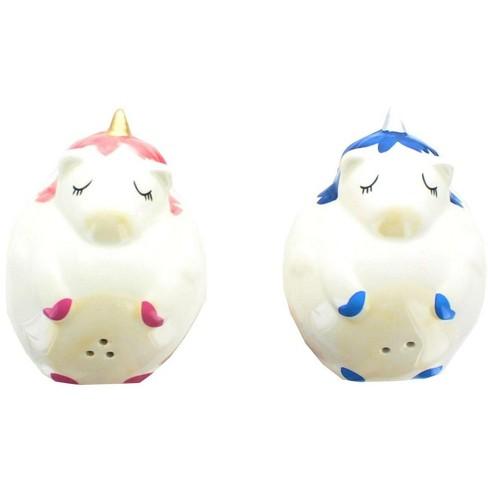 Se7en20 Glitter Galaxy Pink & Blue Unicorn Salt & Pepper Shaker Set - image 1 of 2