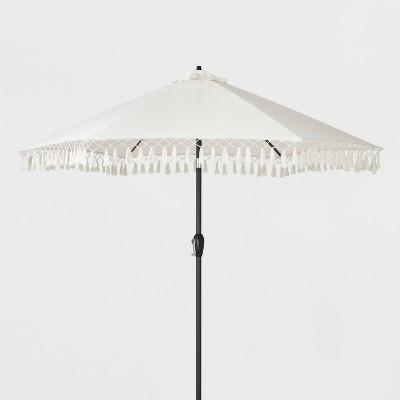 Elegant 9u0027 Patio Umbrella With Fringe   Beige   Opalhouse™