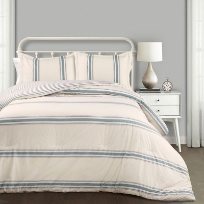 Full/Queen 3pc Farmhouse Stripe Comforter Set Blue - Lush Décor