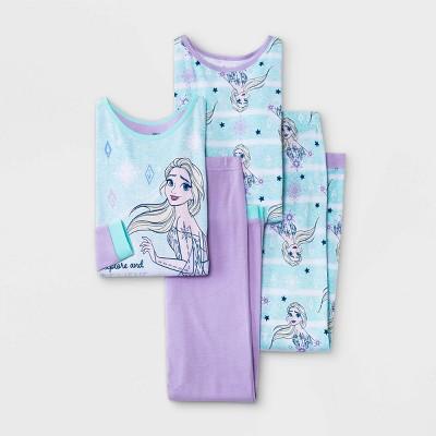Girls' Frozen Elsa 4pc Pajama Set - Purple
