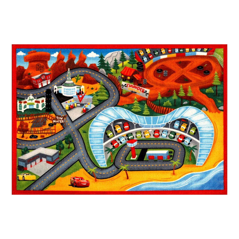 "Image of ""Disney Cars Lightning McQueen 3 2'7""""x3'8"""" Game Rug, Multi-Colored"""