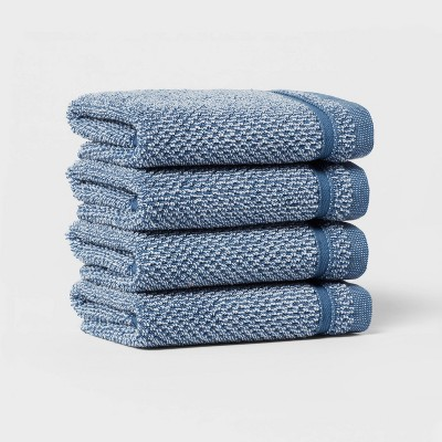 4pk Performance Texture Washcloth Set Dark Blue - Threshold™