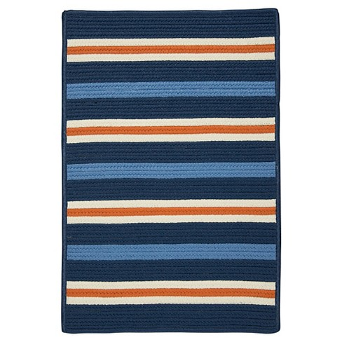 Painter Stripe Braided Area Rug - Set Sail Blue - (8'x10') - Colonial Mills - image 1 of 4