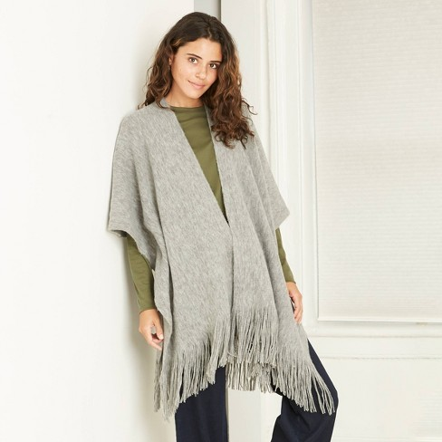 Women's Knit Cape Ruana A New Day™ Gray One Size