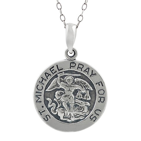 "Women's Journee Collection St. Michael Pray For Us Pendant Necklace in Sterling Silver - Silver (18"") - image 1 of 2"