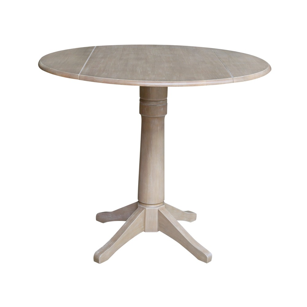 """Image of """"36.3"""""""" Alexandra Round Dual Drop Leaf Pedestal Table Washed Gray Taupe - International Concepts"""""""