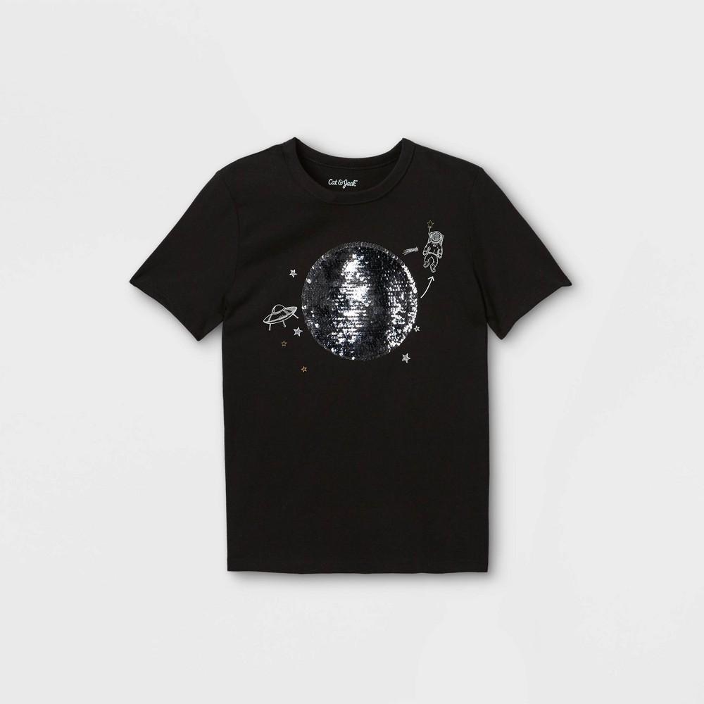 Boys 39 Moon Phases Interactive Graphic Short Sleeve T Shirt Cat 38 Jack 8482 Black M