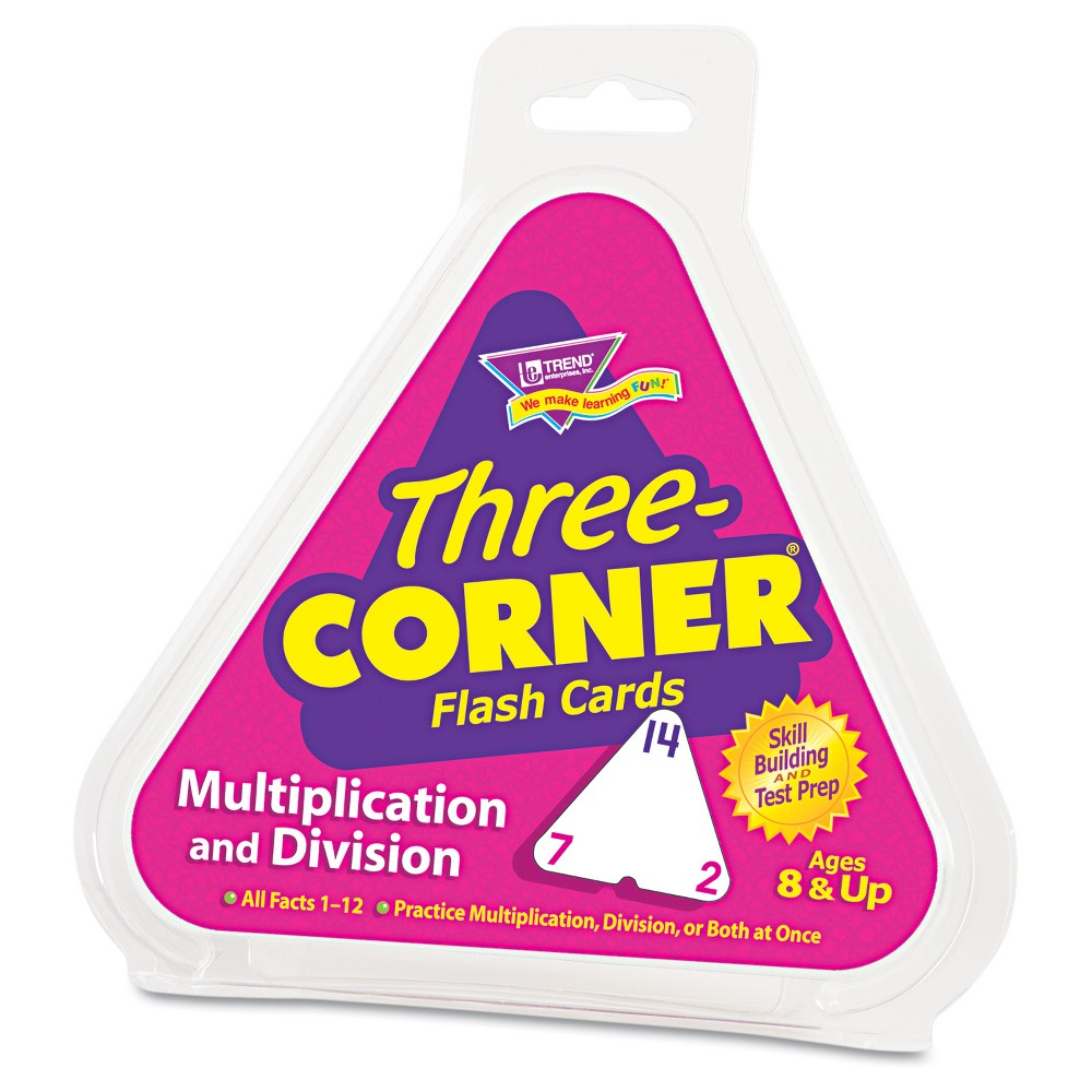 Trend Multiplication/Division Three-Corner Flash Cards, 8 & Up, 48/Set