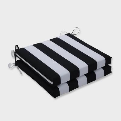 "20"" x 20"" x 3"" 2pk Cabana Stripe Squared Corners Outdoor Seat Cushions Black - Pillow Perfect"