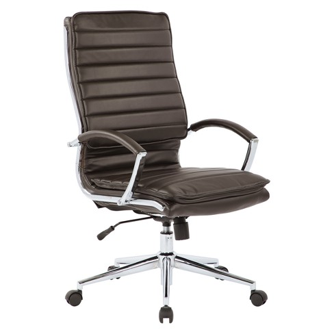 High Back Manager's Faux Leather Chair With Chrome Base - OSP Designs - image 1 of 4
