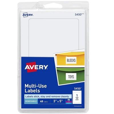 """Avery Laser/Inkjet Multipurpose Labels 3"""" x 5"""" White 1 Label/Sheet 05450"""