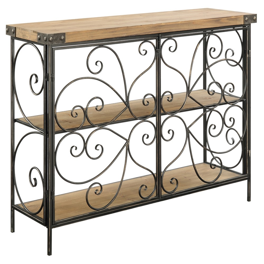 Sedona Decorative Wire Console Table - Natural Fir / Antique Black - Convenience Concepts