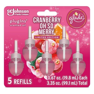 Glade PlugIns Scented Oil Air Freshener Refills Cranberry Oh So Merry - 5 ct/3.35oz