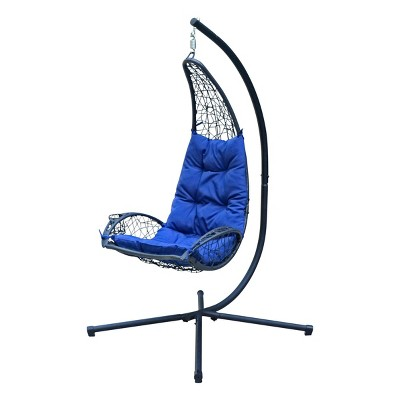 Cushioned Rattan Wicker Hanging Chair with Stand - Blue - Algoma