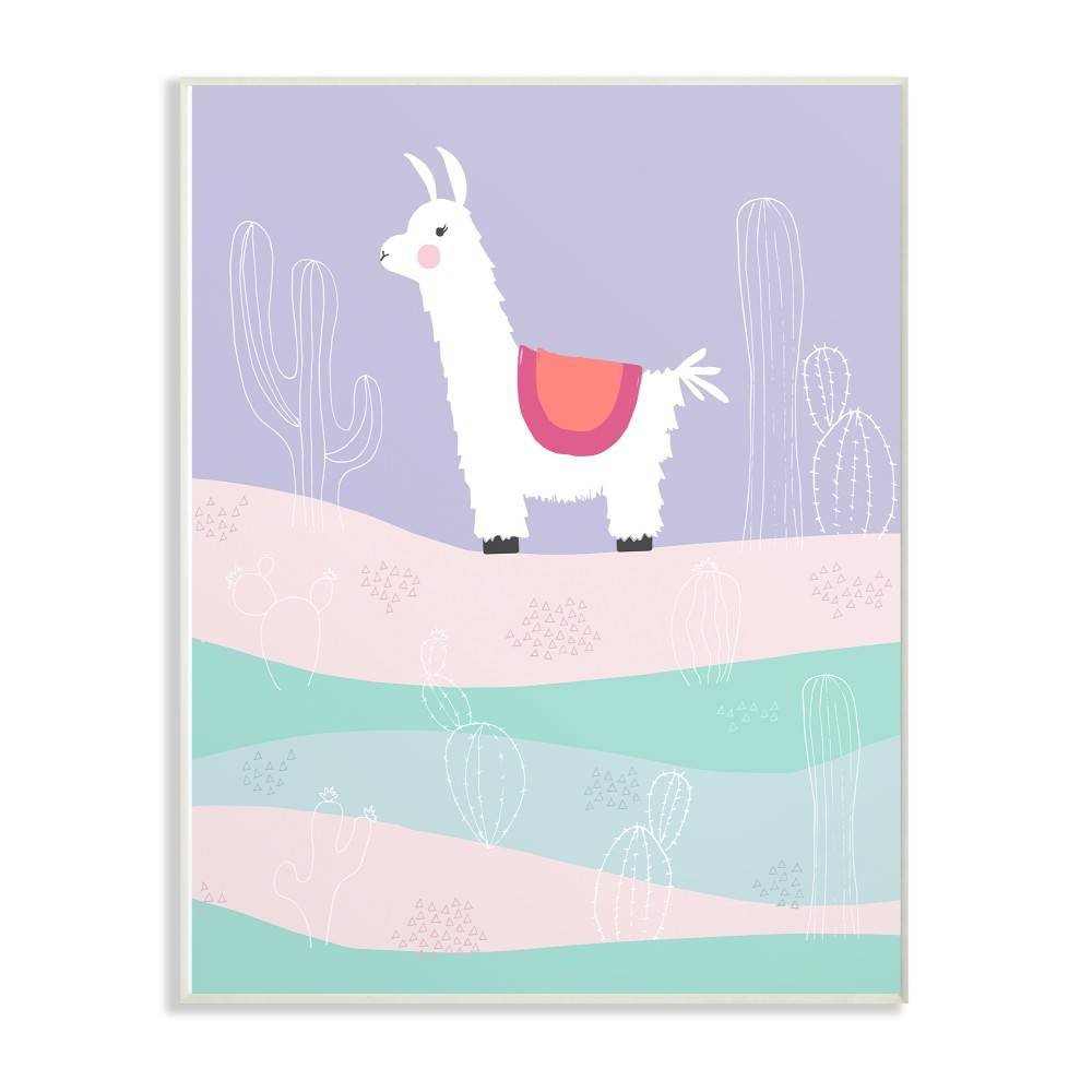 """Image of """"10""""""""x0.5""""""""x15"""""""" Llama In The Pastel Desert with Cacti Wall Plaque Art - Stupell Industries"""""""