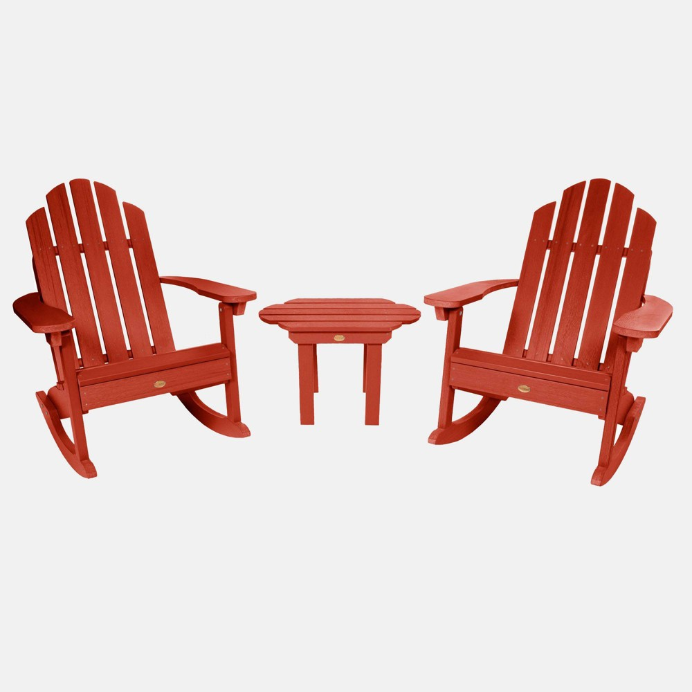 Image of 3pc Classic Westport Adirondack Rocking Chair Patio Set Rustic Red - highwood