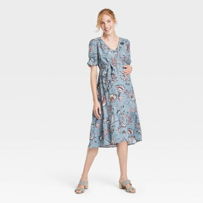 Short Sleeve Woven Tiered Maternity Dress - Isabel Maternity by Ingrid & Isabel™ Blue